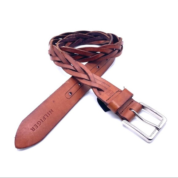 """TOMMY HILFIGER Leather Woven Braided 1"""" Belt Brown"""